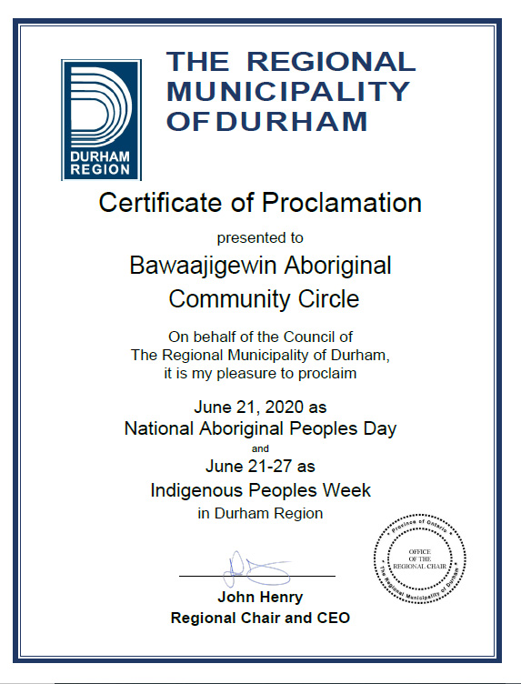Certificate of Proclamation National Indigenous Day and Week