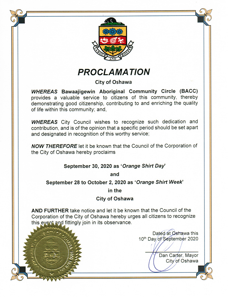 City of Oshawa Proclamation of Orange Shirt Day