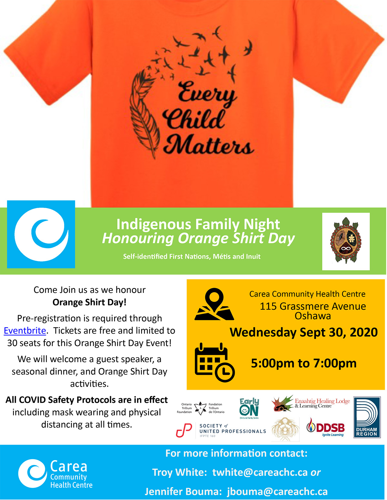 Carea Indigenous Family Night honouring Orange Shirt Day
