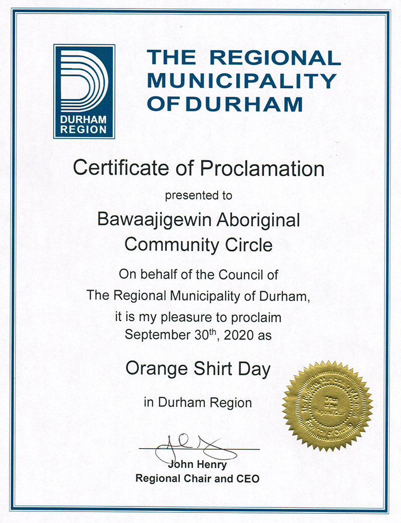 Region of Durham Orange Shirt Day Proclamation